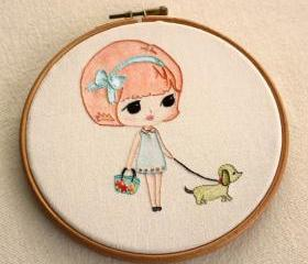 Embroidered Walking the Dog pdf Pattern