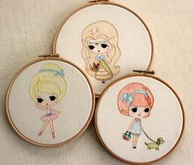  Set of Three Embroidery pdf Patterns - Ballerina, Princess and Walking the Dog