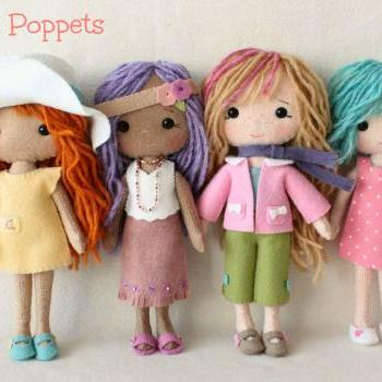 Complete set of pdf Patterns for Pocket Poppet Doll and Outfits