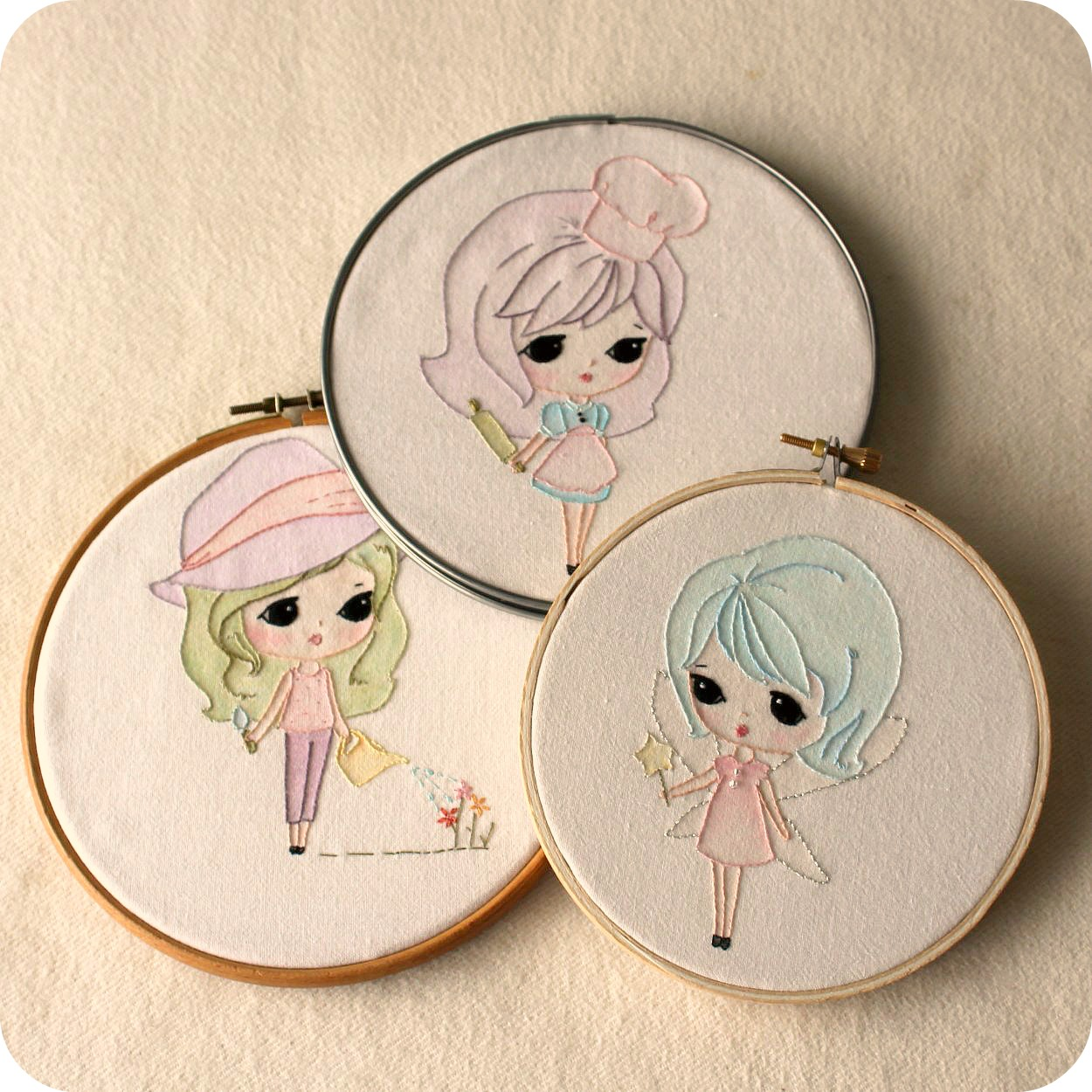 Set Of Three Embroidery Pdf Patterns Fairy Baker And